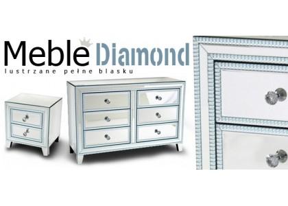 Meble Seria Diamond - komody lustrzane i szafka nocna