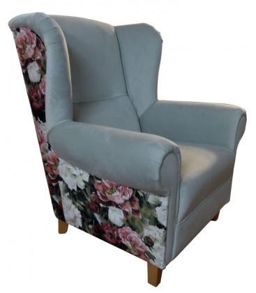 Fotel Alma z podnóżkiem Welur Print