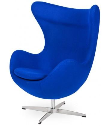 Fotel w stylu Egg Classic Wełna w kolorze niebieskim