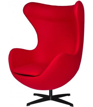 Fotel w stylu Egg Classic Wełna w kolorze czerwonym