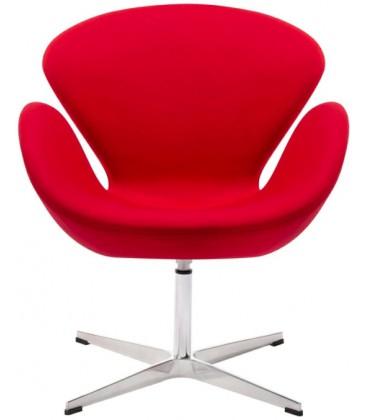 Fotel w stylu Swan wełna w kolorze czerwonym