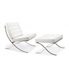 Fotel z podnóżkiem w stylu Barcelona