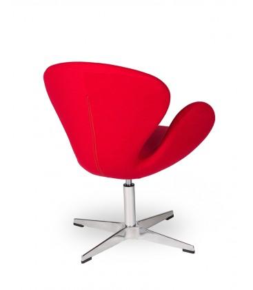 Fotel w stylu Swan w czerwonym kolorze wełny