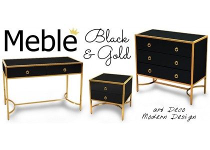 Meble Seria Metalik Black & Gold